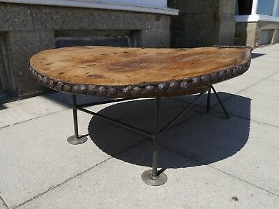 Stunning Industrial Mid Century Elm And Steel Coffee Table - Sculptural - 1960's