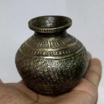1930s Old Antique Vintage Beautiful Hand Carved Design Brass Water Pot / Lota#32