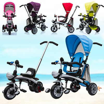 Kids 3 Wheel 4 in 1 Trike Tricycle Stroller Buggy Ride Parent Push Bar Baby Bike