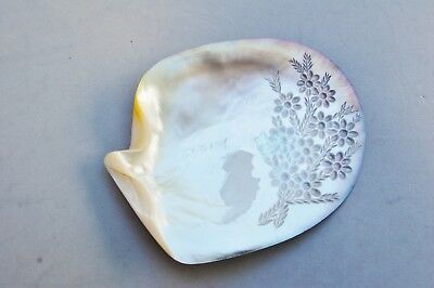 "Mother-of- Pearl Shell Carved Flower Rainbow Vintage 5 5/8"" Button Display Asian"