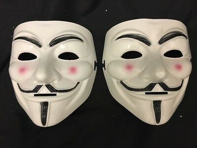 2 X Anonymous V For Vendetta Guy Fawkes Halloween Face Mask Fancy