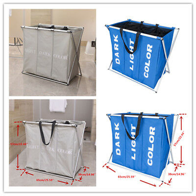 Laundry Basket Easy Foldable Portable Oxford Cloth Large Hamper Three Lattice