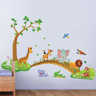 JUNGLE ANIMAL TREE Removable Wall Decals Sticker Kids Nursery Baby ...