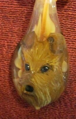 Irish Terrier hand painted on Murano glass spoon pendant/bead/necklace