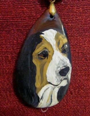 Basset Hound hand painted on large Agate pendant/bead/necklace