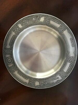 Engraveable Pewter BABY PLATE Mother Child Church Religious Birth Selandia