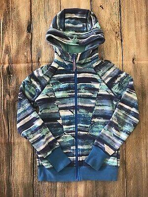 Ivivva Good In The Hood Hoodie jacket Sz 12 Turquoise Teal Blue Girls