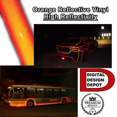 "12"" x 5 ft ORANGE Cutter Sign  Reflective Vinyl Adhesive  High Reflectivity"