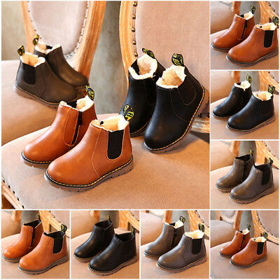 New Kids Boys Girls Winter Snow Warm Ankle Boots Zipper Child Chelsea Shoes Size