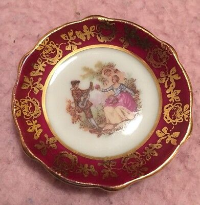 "FRENCH ROMANCE ""Maroon & Gold"" Mini Ornamental Decorative Porcelain Plate"