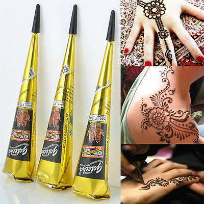 Body Art Paint Temporary Tattoo Kit Natural Herbal Henna Cones Mehandi Black 1pc