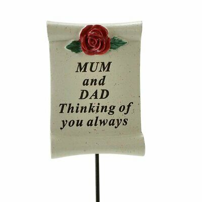 Thinking of You Mum and Dad Flower Rose Memorial Tribute Stick Graveside Plaque