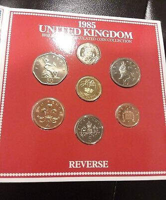 1985 United Kingdom Brilliant Uncirculated Royal Mint 7-Coin Collection Set