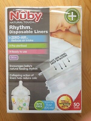 Nuby Rhythm Disposable Liners 50x 270ml Brand New