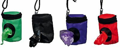 Dog Bag Dispenser with 2 Rolls of 20 Small Poop Bags Attaches to Lead Belt