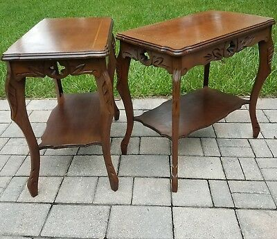 2 Vintage Walnut French Louis Xvi Style Tier End Table With Inlaid Top