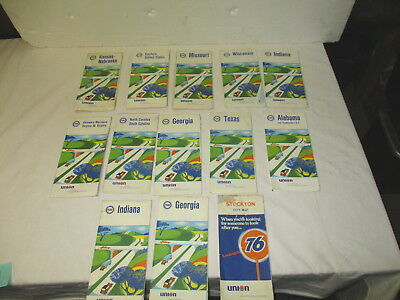 Thirteen 1968-69 Pure/Union 76 gasoline oil gas station road maps