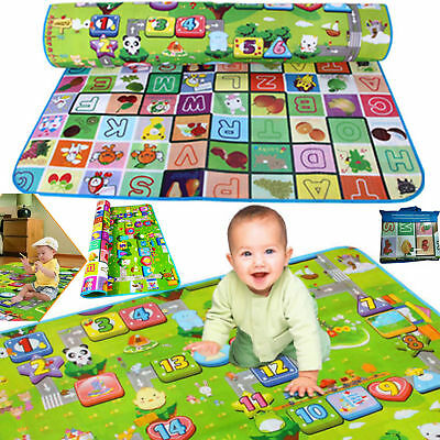200x180cm EXTRA LARGE 2 SIDE BABY MAT KIDS CRAWLING EDUCATIONAL PLAY SOFT FOAM