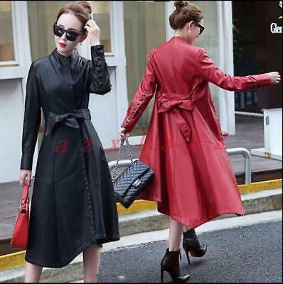 Women's Lady Long leather Coat Winter fashion long Trench coat Size Motorcycle