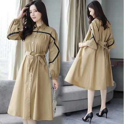 Women New Korean Fashion Slim Fit Long-sleeved Mid-length Khaki Belt Trench Coat