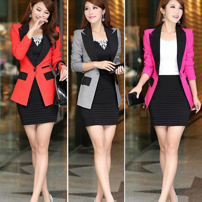 S-XXL Women Button Career Loose Blazer Suit Jacket Coat Casual Business Outwear