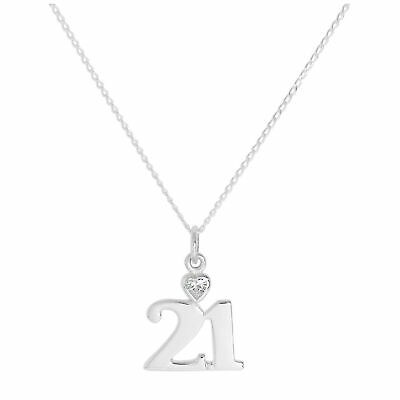 Sterling Silver 21 Pendant w Clear CZ Crystal Heart on Chain 16 - 24 Inches