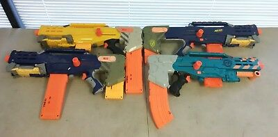 Lot of 4 Nerf Long Shot CS-6 Rifles Guns w/ Magazines