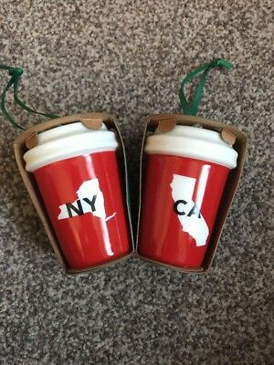 2 Starbucks Red Cup Ornaments. 1 NY 1 CA