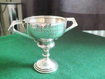 Antique Solid Silver Art Deco Twin Handled Trophy - Rowing - E.Viners
