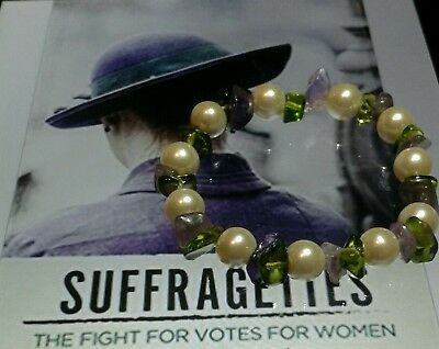 Suffragette Jewellery Amethyst/Peridot and Pearl  Bracelet wear with pride.