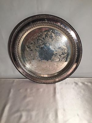 """Wm Rogers Round Serving Tray Silverplate 12"""" Embossed Plate Reticulated Edge"""