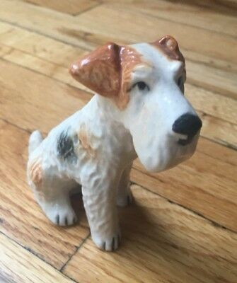 Vintage Wire Hair FOX TERRIER Dog Porcelain / Ceramic Figurine