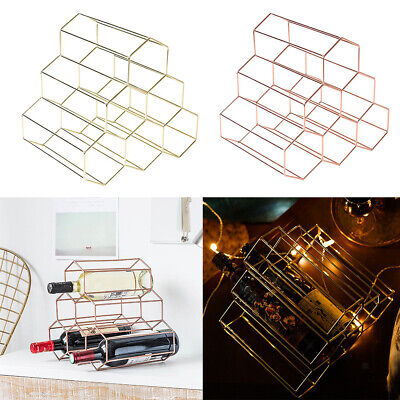 Baoblaze Metal Wire Wine Rack 6 Bottles Holder Free Standing Home Bar Decor