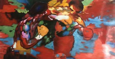 """Leroy Neiman Rocky vs Apollo""Handcraft oil painting on canvas #A155 (No Frame)"