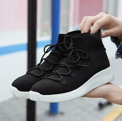 2018 New Women's Shoes Casual Flat High-top Socks Shoes Elastic Woven Sneakers