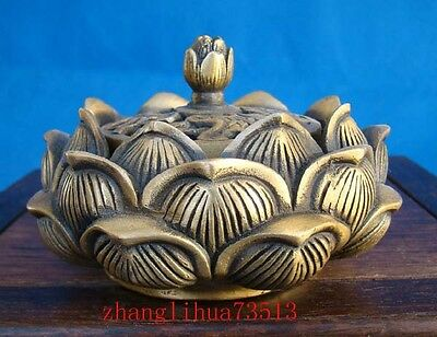 Collectible Handmade Carving Lotus Brass Incense Burner QianLong Mark