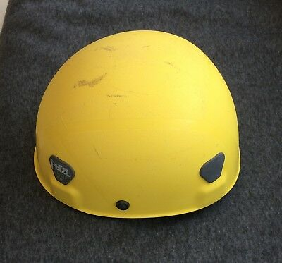 Rare old style Petzl ecrin yellow climbing helmet, used but in good condition.
