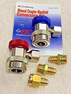 R134a Manual Coupler Set w/14mm Hose Connections FJC & R12 Adapters Conversion