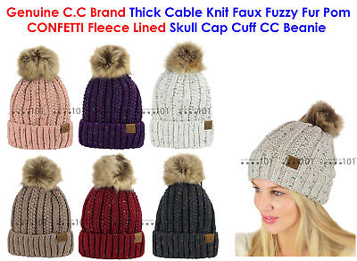 20a1949fbbf CC Thick Cable Knit Faux Fuzzy Fur Pom CONFETTI Fleece Lined Skull Cap CC  Beanie