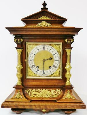 Antique 8 Day Lenzkirch Walnut & Ormolu Mounts Musical Ting Tang Bracket Clock