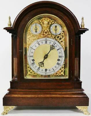 Antique W & H 8 Day Mahogany 3 Train Double Chime Musical 9 Gong Bracket Clock