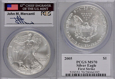 2005 Pcgs Ms70 First Strike Silver American Eagle - Engraver Mercanti Signed !!!