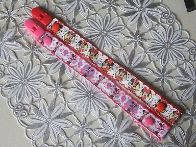 2X  Dummy Holders /Clip/ pacifier /soother/ leash Strap (girls)