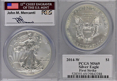 2014-W Pcgs Ms69 1St Strike Silver American Eagle - Engraver - Mercanti Signed !