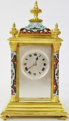 Rare Antique French 8 Day Bronze Ormolu & Champleve Enamel Mantel Bracket Clock