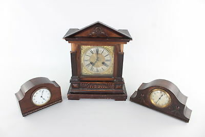Lot of 3 x Vintage Hand/Key Wind Wooden Cased Mantle Clocks inc 8 Day SPARES