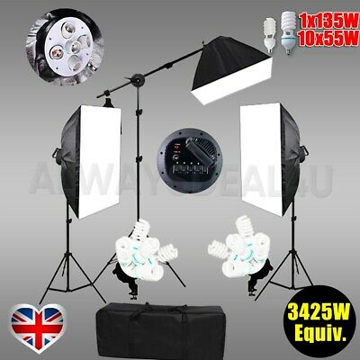 Photography Studio Soft Box Continuous Lighting Softbox 4 Head Lights Stand Kit