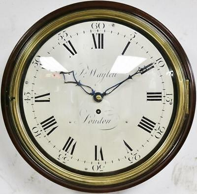 Rare Antique English 18thc Mahogany 8 Day Single Fusee Verge Dial Wall Clock