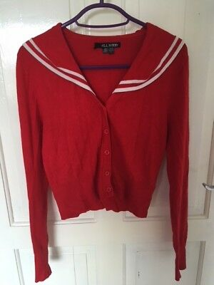Hell Bunny Red Nautical Anchor Cardigan Cardi Rockabilly 40s 50s Pin Up Vintage