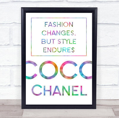 Rainbow Coco Chanel Fashion Changes Quote Wall Art Print